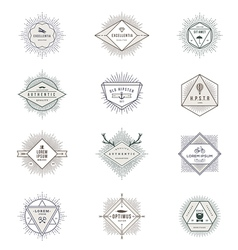 Set of hipster sunburst line signs and emblems vector image vector image