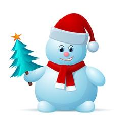 snowman with santa cap vector image