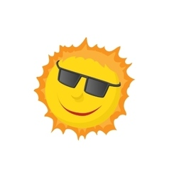 Sun face with sunglasses icon cartoon style vector image vector image