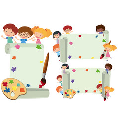 three paper template with happy kids vector image vector image