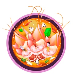 Tom Yum Goong or Thai Spicy Sour Soup with Prawns vector image