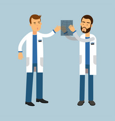 two males doctor characters in uniform examining vector image vector image