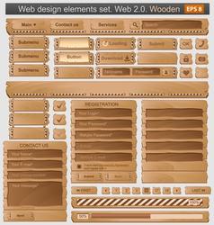 web design elements set wooden vector image vector image
