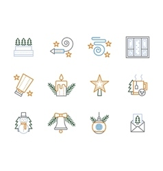 Flat linear Christmas decoration icons vector image