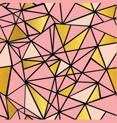 salmon pink and gold foil geometric mosaic vector image vector image
