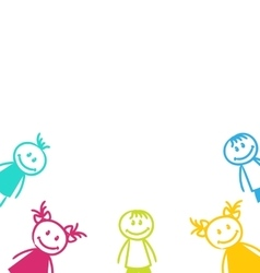 Smiling Girls and Boys Isolated on White vector image