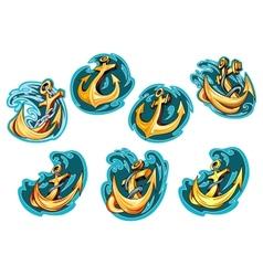 Anchor on blue wave design elements vector image