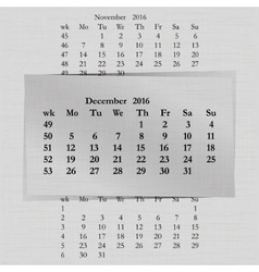 calendar month for 2016 pages December start vector image