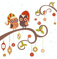 Cute winter Christmas card of owls vector image vector image