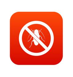 no cockroach sign icon digital red vector image