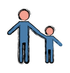 Pictogram man and kid ico vector