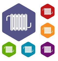 radiator icons set hexagon vector image