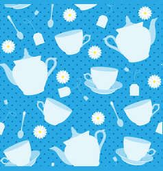 seamless pattern with cups teapots and chamomiles vector image vector image