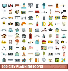 100 city planning icons set flat style vector
