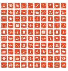 100 offence icons set grunge orange vector