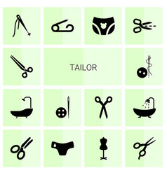 14 tailor icons vector