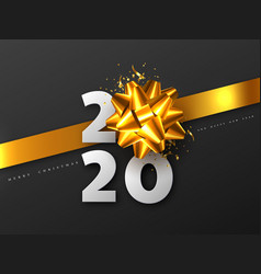 2020 new year sign with 3d golden bow vector
