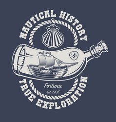 a bottle with a ship and a seashell vector image