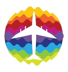 Airplane Rainbow Color Icon for Mobile vector image