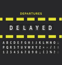 Airport analog flip board showing flight vector
