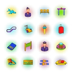 Airport set icons comics style vector image