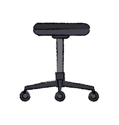 Backless chair office furniture wheel vector