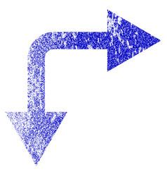 Bifurcation arrow right down grunge textured icon vector
