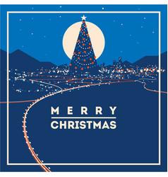 big christmas tree with city lights minimalistic vector image