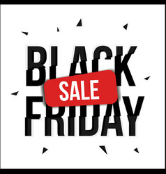 black friday sale banner with glitch distortion vector image