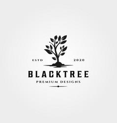 black tree icon logo vintage nature symbol design vector image