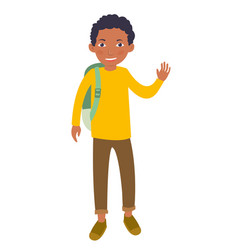 black young male student waving his hand vector image