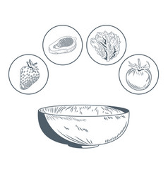 bowl and vegetables hand draw vector image