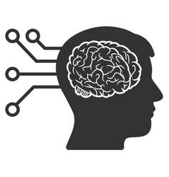 brain computer connection icon vector image