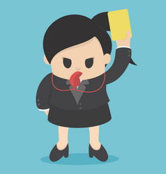 business woman showing yellow card concept for vector image