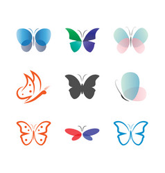 butterfly logo and icon design template vector image