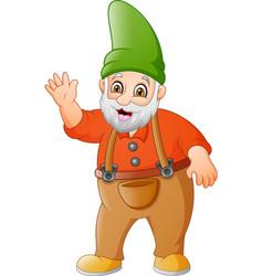 cartoon garden gnome waving vector image
