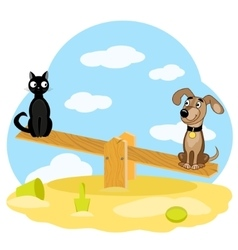 Cat and dog on swing vector