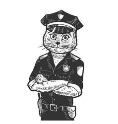 cat policeman sketch engraving vector image