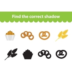 Children s educational game find correct shadow vector