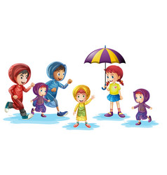Children wearing raincoats in rainy season vector