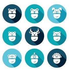 Christmas hats Icons Set vector image