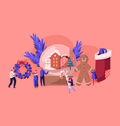 christmas holidays celebration concept with tiny vector image