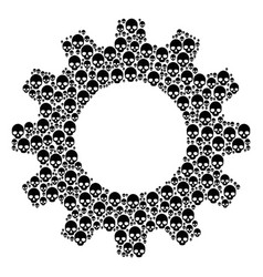 Cog collage of skull icons vector