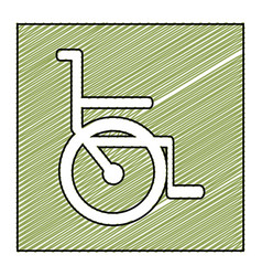 Color pencil drawing square frame with wheelchair vector