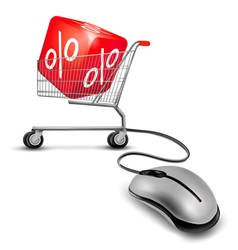 Computer mouse and a shopping cart with cube in it vector