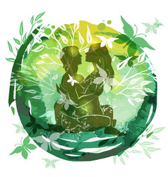 Couple practicing tantra yoga green watercolor vector