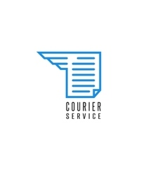 Courier service logo document file delivery blue vector image