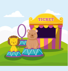 cute bear and lion with ticket sale tent vector image
