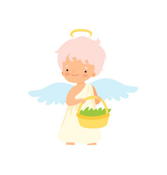 Cute boy angel with nimbus and wings holding vector