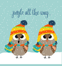 cute christmas card with owls singing carols vector image